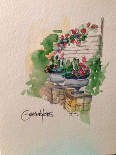 this is the lovely art of my neighbor Cathy - Watercolor Card by gardenblooms on Etsy,