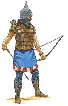 """""""Assyrian warrior with iron helmet and bow"""""""