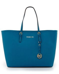 Michael Kors Medium Leather Travel Tote in Turquoise: perfect for summer vacations! | Country Outfitter