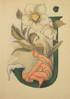 Ottilia Adelborg - Letter J Embroidery Alphabet, Alphabet Art, Letter Art, Flower Art Drawing, Fancy Letters, Vintage Typography, Illuminated Letters, Medieval Art, Calligraphy Art