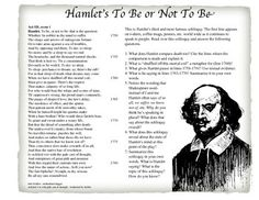 Best Shiloh Images  Reading Comprehension Reading Skills  This Features One Of Shakespeares Most Famous Soliloquys Hamlets To Be  Or Not Be