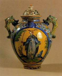 One of the oldest jar of the Pharmacy (late 16th century) showing San Peter Martyr