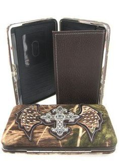 Camo Rhinestone Cross w/ Angel Wings Flat Wallet Clutch Purse Soft Camouflage Brown scarlettsbags, http://www.amazon.com/dp/B007WMOL1S/ref=cm_sw_r_pi_dp_KPuirb1REGX1S
