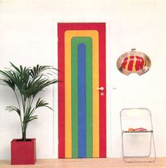 Rainbow Stripe Door Design From Bright Ideas For... - The Groovy Archives 1970s Decor, 70s Home Decor, Hippie Home Decor, Vintage Home Decor, Cheap Home Decor, Dyi, Cool Vintage, Ikea, Homemade Home Decor