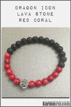 Red Coral Lava Dragon Tibetan Buddhist Bead Bracelets. Yoga Mala Charm.Men's & Women's Jewelry.
