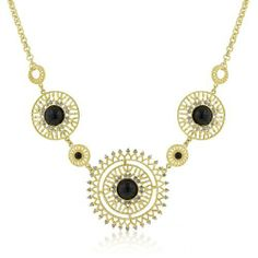 Midnight Sun Crystal And Onyx Cabochon Gold Necklace - Jewelry