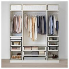 Discover the IKEA PAX wardrobe series. Design your own PAX wardrobe inside and out, from door styles, to shelves, to interior organizers and more. Pax Corner Wardrobe, White Wardrobe, Pax Wardrobe, Wardrobe Storage, Storage Room, Ikea Stolmen, Algot Ikea, Ikea Closet, Closet Organization