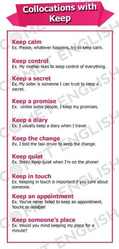 Collocations with Keep