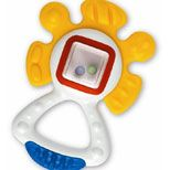 Activity Teether, with its high contrast colors, distinctive shapes and textures, and encased beads,  provides visual, tactile, oral, and auditory stimulation and teaches cause and effect. For ages three months and up.