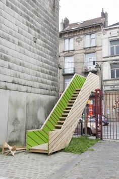Staircase by Raumlabor in the courtyard of Curo Hall, Belgium, 2012. Click image for full profile and visit the slowottawa.ca boards >> http://www.pinterest.com/slowottawa/