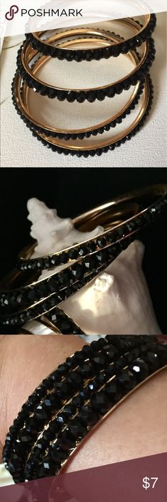 Black bearded bangles Four black crystal beaded bangles. NWOT, purchase all 4 for $25 or $7 each Silaroy Jewelry Bracelets