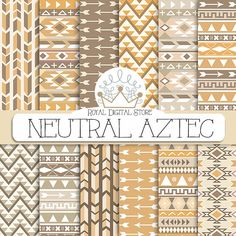 """Tribal digital paper: """" Neutral Aztec Digital Paper"""" with tribal, aztec patterns, backgrounds in beige, brown, geometric patterns"""