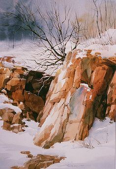I love these outcroppings of rock against the snow. This is near our home.