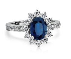 Oval Sapphire and Diamond Ring in 18k White Gold (8x6mm). $3,200 by BlueNile