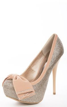 Front Bow Glitter Pumps CHAMPAGNE