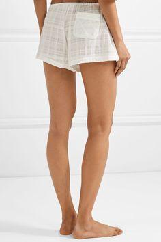 Skin - Crinkled Cotton-gauze Pajama Shorts - White - 3