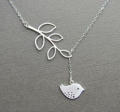 Silver Lariat Necklace - Silver Leaf and Love Bird - Bridesmaid Necklace - Wedding Jewelry - Bohemian Necklace on Etsy, $26.00