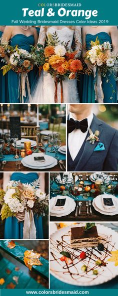 Fall wedding color ideas 2019 - teal and orange. Teal bridesmaid dresses, wonderful with orange bridal bouquets, teal table decorations and napkins. #colsbm #bridesmaids #tealdress #weddingideas #tealwedding b1055