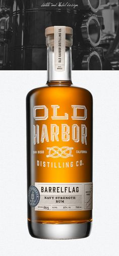 Old Harbor Distilling Co's Design studio Caava Design created the Old Harbor Distilling Co's entire brand, packaging, and visual strategy from the ground up. Old Harbor is a distillery in San Diego,. Glass Packaging, Cool Packaging, Beverage Packaging, Brand Packaging, Beer Packaging, Cocktails, Alcoholic Drinks, Cocktail Drinks, Rum Bottle