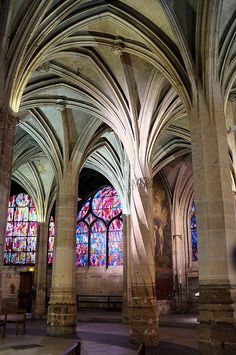 Interior of Saint Severin, a Roman Catholic Church in the Latin Quarter, Paris