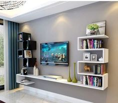20 Outstanding Ideas For TV Shelves To Design More Attractive Living Room- 20 . - 20 Outstanding Ideas For TV Shelves To Design More Attractive Living Room- 20 Outstanding Ideas F - Tv Unit Decor, Tv Wall Decor, Room Decor, Wall Decorations, Wall Tv, Room Art, Living Room Tv Cabinet Designs, Living Room Designs, Tv Cabinet Design Modern