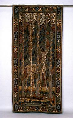Gobelin tapestry Enhörningen Märta Måås - Fjetterström (1873 - 1941) Gobelin woven out of wool yarn 260 x 122 cm Båstad, 1915 - 1935 RKM 25-1960