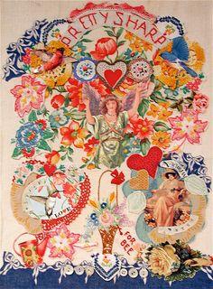 Vintage Linens Angel Folk Art Collage  Original mybonny