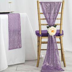 "5 Pack - 12""x108"" Lavender Premium Sequin Chair Sashes Wedding Chair Sashes, Wedding Sash, Wedding Chairs, Dream Wedding, Purple Wedding Decorations, Quince Decorations, Rapunzel, Tangled Wedding, Quinceanera Themes"