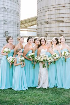 Bridesmaid Dresses, try the delightfully eye catching photo portfolio 8134128777 now. Farm Wedding, Blue Wedding, Wedding Bells, Wedding Colors, Dream Wedding, Wedding Turquoise, Wedding Rustic, Aqua Bridesmaid Dresses, Bridesmaids And Groomsmen