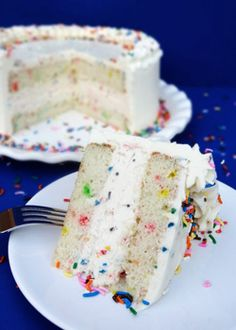 Funfetti Cake Batter Ice Cream Cake with Rainbow Chip Icing {Funfetti Week} - Life Love and Sugar