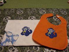 Baby bib and Burp Cloth boy monkey by MindysNeedleArt on Etsy