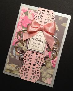 Shabby-Sweet Pink Rose Birthday Card with Anna Griffin Papers