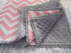 Minky and Chevron Baby blanket 32 X 36 pink by GrannyBirdzStitches, $36.00 in blue aqua or red for baby krause