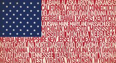Names of 50 States Make the American Flag found on AndHudsonMakesThree.blogspot.com
