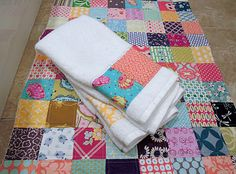 Quilting Barbie: Handmade Christmas --Patchwork Bath Mat and Matching Hand Towels.