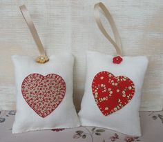 lavender bags made from vintage linen with heart motifs appliqued on the front