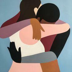 Paintings by Quentin Monge? Hug Illustration, Guache, Fashion Wall Art, Diy Canvas Art, Art Design, Figure Painting, Art Inspo, Vector Art, Illustrators
