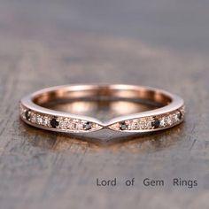 Pave Black/White Diamond Wedding Band Half Eternity Anniversary Ring 14K Rose Gold - Lord of Gem Rings - 1
