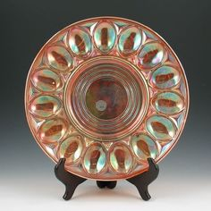 """Carnival Glass 11 5/8"""" Egg Plate"""
