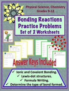 bonding reactions ionic and covalent practice problem worksheet chemistry classroom high school chemistry