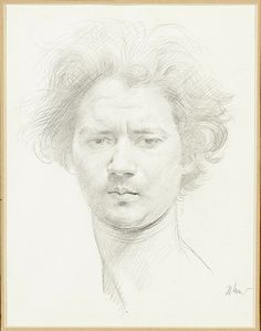 Augustus John drawing of Jacob Epstein