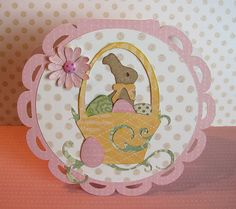 Cricut Easter Card. Used Wild Card, Easter 2010 and Celebrate with Flourish Cartridges. Card Recipe Attached.  *