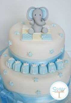 Love The Baby Elephant Topper On This Baby Shower Cake