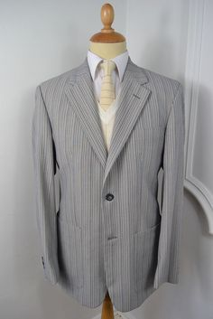 VINTAGE 1980s CRUISE GREY PINSTRIPE POLY VISCOSE BLAZER JACKET LARGE 42 REGULAR