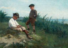 AMELIE LUNDAHL, POIKIA RANNALLA. Sign. 1881. Öljy kankaalle 32x42,5 cm.