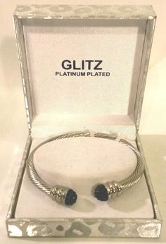 Platinum Black Crystal Bracelet Twisted Cuff Plated By Glitz New Gift Box 20th Anniversary