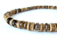 Gunsmoke smoky quartz mens beaded necklace - Authentic Arts | Nature Art and Jewelry by Jenny Hoople