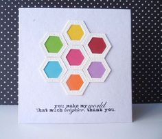 handmade card ... hexagon flower ... use scaps to fill in the empty spaces ... pretty and bright card ... clean design ...