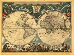 World map print World map Old maps 108 por mapsandposters en Etsy All World Map, World Map Mural, World Map Decor, Old World, World Map Wallpaper, Antique World Map, Antique Maps, Tableau 5 Parties, Deco Pirate