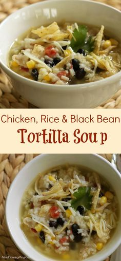 Perfect for a weeknight dinner, this Chicken, Rice  and Black Bean Tortilla Soup comes together quickly--under 30 minutes! It's a family favorite! | Recipe at MealPlanningMagic.com